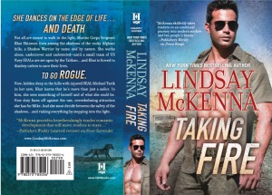 TAKING FIRE front and back cover with black Arabian horse on it. She plays a key role in the book!