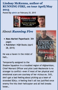 TLC Blog Tours is sponsoring RUNNING FIRE.  Their entire list of participating blogs/websites is right here!  Join me on my tour by date and URL website!