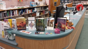 Titusville, Florida, Public LIbrary with their Lindsay McKenna book display--plus SWAG that the patrons can have!