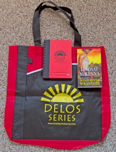 For Libraries only, special SWAG for their patrons!  Here is a handy Delos Series bag.  I also put in the notebook AND a copy of Wind River Wrangler, Book 1, just out!